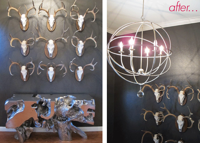 Before & After, Modern Antler wall, Z Gallerie Sequoia Console Table